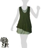 Big Tree - Thai Cotton Double Layer Short Dress - green / mint