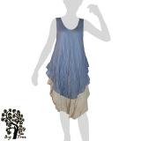 Big Tree - Thai Cotton Double Layer Long Dress - blue