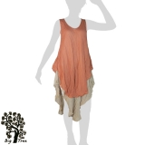 Big Tree - Thai Cotton Double Layer Long Dress - apricot