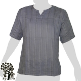 Big Tree - Thin Cotton Short Sleeve Shirt - Woven Stripes - grey