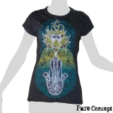 Pure Concept Lady Shirt - Buddhahand & Lotusflower (anthracite)