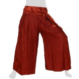 Rayon Wide Pants - Flowers Ribbon - Long Pants Plain - wine red
