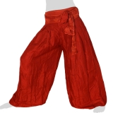Rayon Wide Pants - Triangle Lines Ribbon - Long Pants Plain - dark red