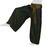 Rayon Wide Pants - Oriental Flower Ribbon - Long Pants Plain - dark green