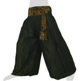 Rayon Wide Pants - Boulders Ribbon - Long Pants Plain - dark green