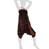 Hilltribe Aladdin Dance Pants Skirt / Dress - Peacock Feather Flowers - black / orange