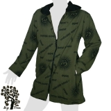 Big Tree - Long Jacket / Coat  - Om / Sanskrit - dark green