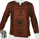 Big Tree - Thin Cotton Longsleeve Shirt - Om & Sanskrit 2 colors - red-brown