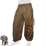 Big Tree - Thai Cotton Pants with Leg Laces (long / short) - ochre-brown