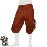 Big Tree - Thai Cotton Pants with Leg Laces (long / short) - earth-red brown