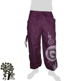 Big Tree - Thai Cotton Pants with Leg Laces (long / short) - purple