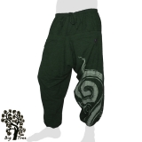 Big Tree - Thai Cotton Pants Half-Baggy 2 front pockets - dark green