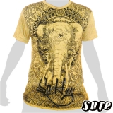 15.99 € impalpable print: Very nice elephant head, looking as if through an emblem full of ornaments. Wrinkle fabric 100% cotton.