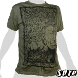 16.59 € Budda`s kind and smooth face melted in a tree with Lotus flowers in the background on an olive green XL T-Shirt 100% cotton