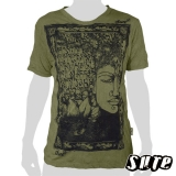 15,59 € Winkle-fabric T-shirt 100% cotton. Buddha's face in a tree with strong roots and beautiful decorations.