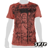 15.59 € Wrinkle fabric T-shirt 100% cotton - Buddha meditating in a temple with a wooden gate...