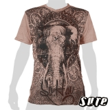 15.59 € impalpable print: Very nice elephant head, looking as if through an emblem full of ornaments. Wrinkle fabric 100% cotton.