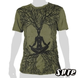 15,59 € wrinkle-fabric T-shirt 100% cotton. earthed and rooted meditating Buddha with the seven Chakra Points