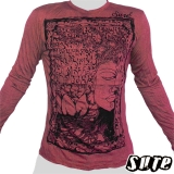 17.29 € Wrinkle-fabric longsleeve Hoody Shirt 100% cotton - Buddha's face in a tree with strong roots