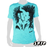 15.99 € size L wrinkle-fabric T-shirt 100% cotton. ...two kissing Mohawk punks...