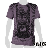 15.99 € size L wrinkle-fabric T-shirt 100% cotton. Chinese Laughing Buddha dancing with his arms and hands up and belly out.