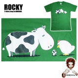 Original Rocky T-Shirt with high quality print: Cow, chicken, egg - 100% cotton non-chlorine bleach, funny, smart, poetic ...