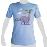 Original Rocky T-Shirt with high quality print: Brontosaurus entangled with rainbow - 100% cotton non-chlorine bleach, funny, smart, poetic ...