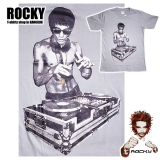 Original Rocky T-Shirt with high quality print: Bruce Lee as a Turn Table DJ - 100% cotton non-chlorine bleach, funny, smart, poetic ...