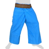 Fisherman Pants - thick fabric + Hmong Braid + Pocket - light blue