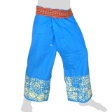 Fisherman Pants - thick fabric + Hmong Braid + Pocket - light blue with Batik