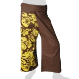 Fancy Thai Fisherman Pants - Flowers (dark brown)