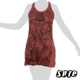14,79 € Wise Ganesha meditating - on a dark red wrinkle-fabric summerdress.