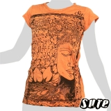 Beautiful - Budda`s holy Face in a tree and Lotus blossoms and nice ornaments on an orange shirt in which coloured threads are sewn