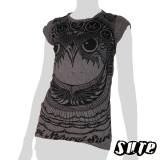 13,79 € Fancy Owlhead staring adamantly embellished with a pattern including cannabis-leaves. dark violet-grey stretchy knitter fabric shirt.