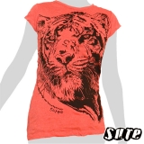 13,79 € Terrific tiger head on a salmon red colored shirt.