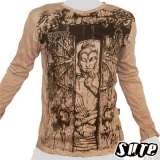16,29 € Japanese Buddha meditating in a temple with a wooden gate ... Impalpable beautiful Buddha print on a beige 100% cotton longsleeve shirt.