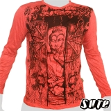 16,29 € Japanese Buddha meditating in a temple with a wooden gate ... Impalpable beautiful Buddha print on a red 100% cotton longsleeve shirt.