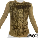 16,29 € Japanese Buddha meditating in a temple with a wooden gate ... Impalpable beautiful Buddha print on an olive green 100% cotton longsleeve shirt.