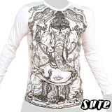 16,29 € A powerful image of an old and wise looking Ganesha ... beautiful and impalpable print on a white longsleeve shirt 100% cotton.
