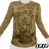 16,29 € Buddhist Monk on a grey shirt - Respect! - Impalpable imprint on an olive green longsleeve shirt 100% cotton.