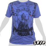 15,99 € Buddha - Respect - beautiful design, clear statement - impalpable print on a blue T-shirt in si L