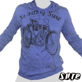 17,79 € Phantastic: first Harley Davidson motorcycle - No Fatboy -  Impalpable print on a large blue Hoody longsleeve shirt 100% cotton.
