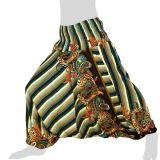 Hilltribe Aladdin Pants Skirt / Dress - Stripes & Flower Tendrils - turquoise