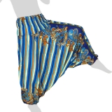 Hilltribe Aladdin Pants Skirt / Dress - Stripes & Flower Tendrils - light blue