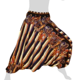 Hilltribe Aladdin Pants Skirt / Dress - Stripes & Flower Tendrils - dark blue brown