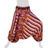 Hilltribe Aladdin Pants Skirt / Dress - Stripes & Flower Tendrils - violet purple
