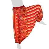 Hilltribe Aladdin Pants Skirt / Dress - Stripes & Flower Tendrils - rose red