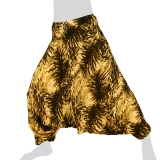Hilltribe Aladdin Pants Skirt / Dress - Aquarel Feathers - olive green cream