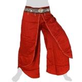 Rayon Hmong Flap Pants - Long Pants Emb Swing - dark red