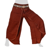 Rayon Hmong Flap Pants - Long Pants Emb Swing - brown